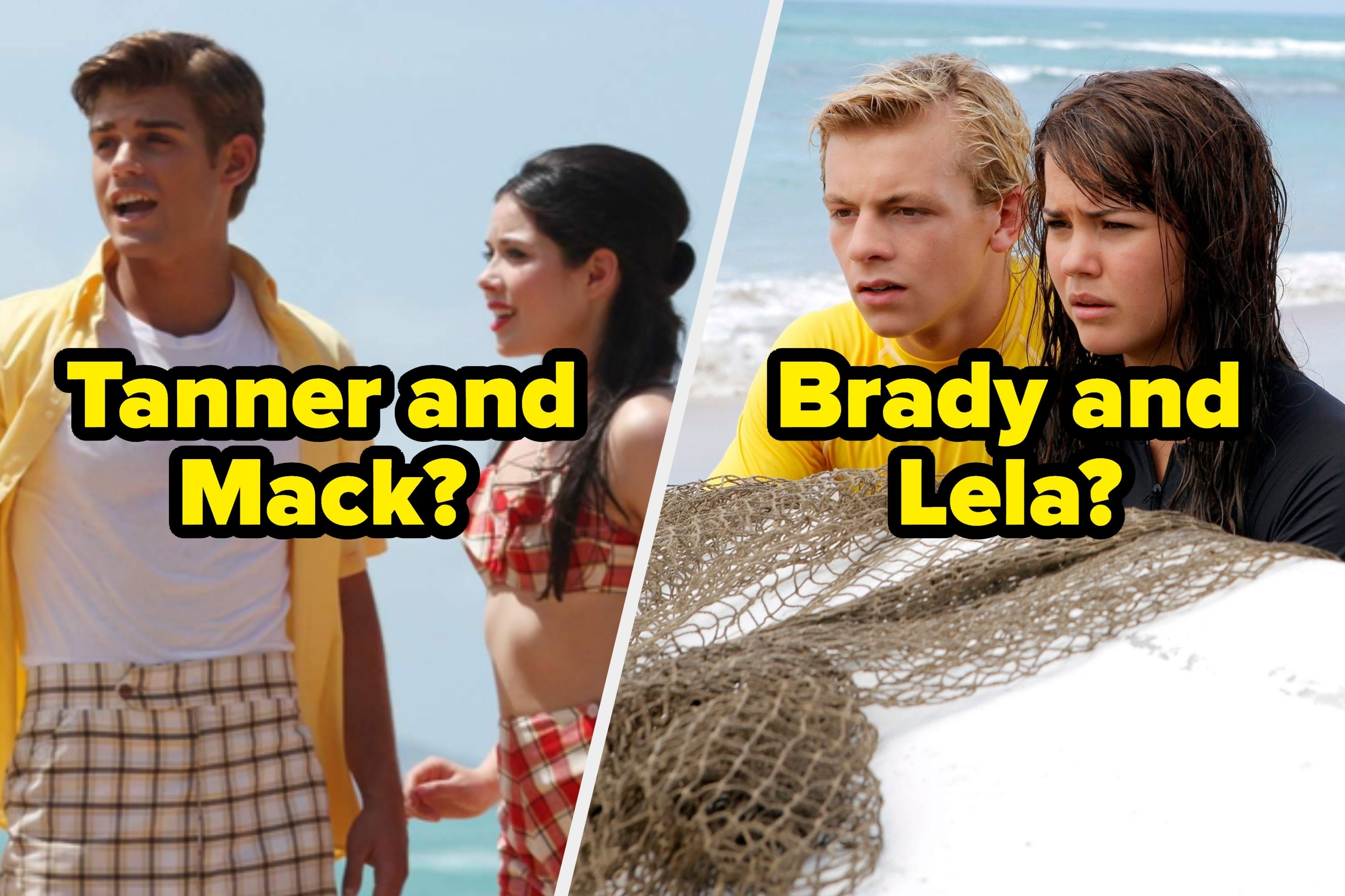 """Two couples from Teen Beach Movie, each labeled """"Tanner and Mack?"""" and """"Brady and Lela?"""""""