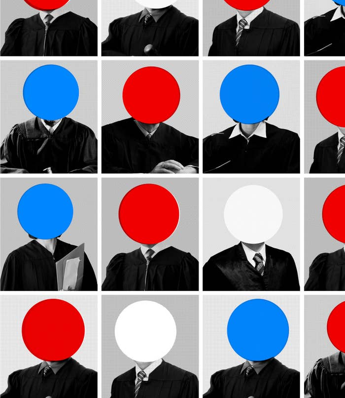 An illustration showing a number of judges, some with red dots over their faces, some with blue dots, a few with white dots