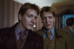 Fred and George Weasley wearing matching coats and ties