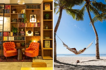 A cosy looking bookshelf next to an image of a hammock by the beach