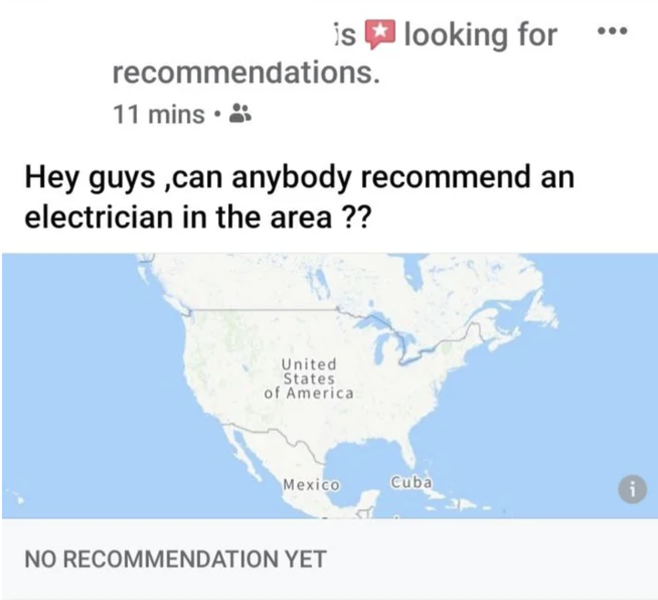 person asking for help finding an electrician but the area is the entire united states
