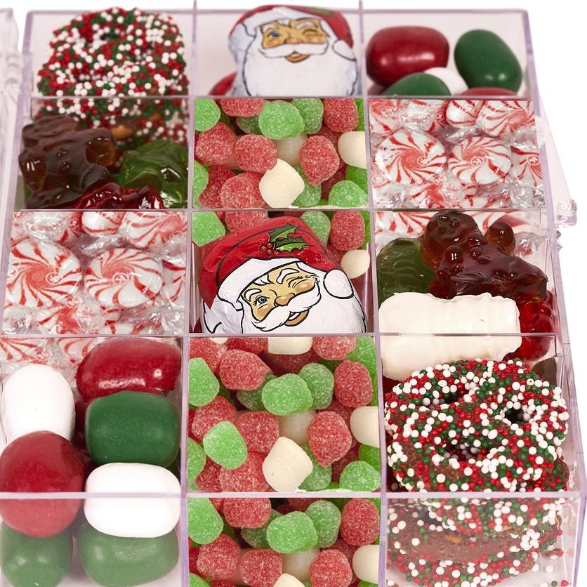 box full of 12 different types of holiday candy