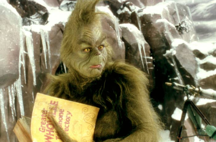 """Jim Carrey as the Grinch in """"How the Grinch Stole Christmas"""" looks shocked"""
