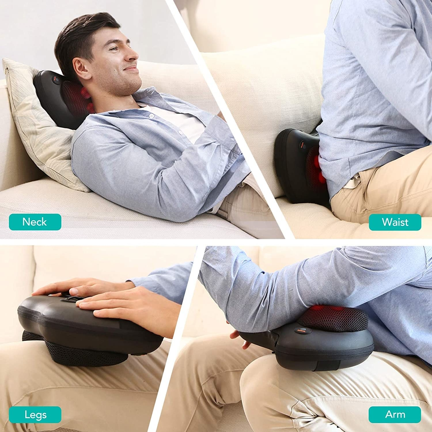 The massager can be used on the neck, back, legs, and arms