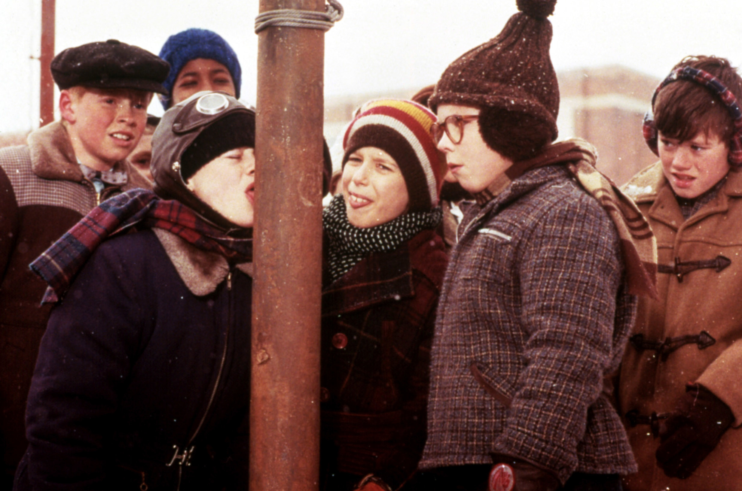 """The iconic """"A Christmas Story"""" scene where Flick gets his tongue stuck on a pole"""