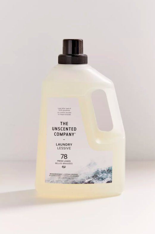 the bottle of unscented laundry detergent which cleans up to 78 loads