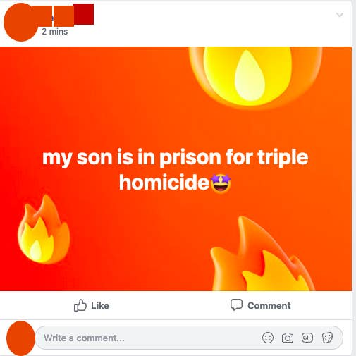 facebook post reading my son is in prison for triple homicide
