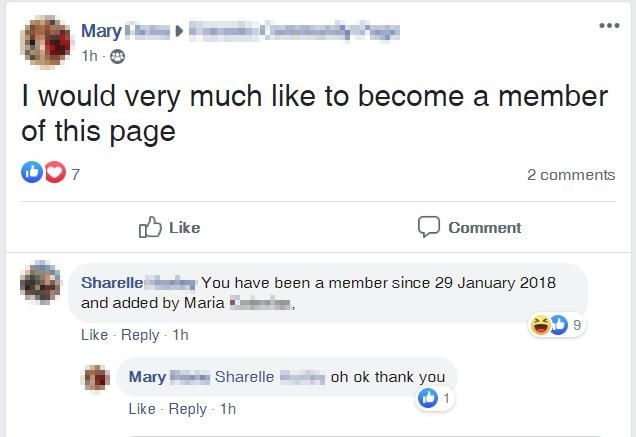 a person trying to join a group and realizing they are already a member