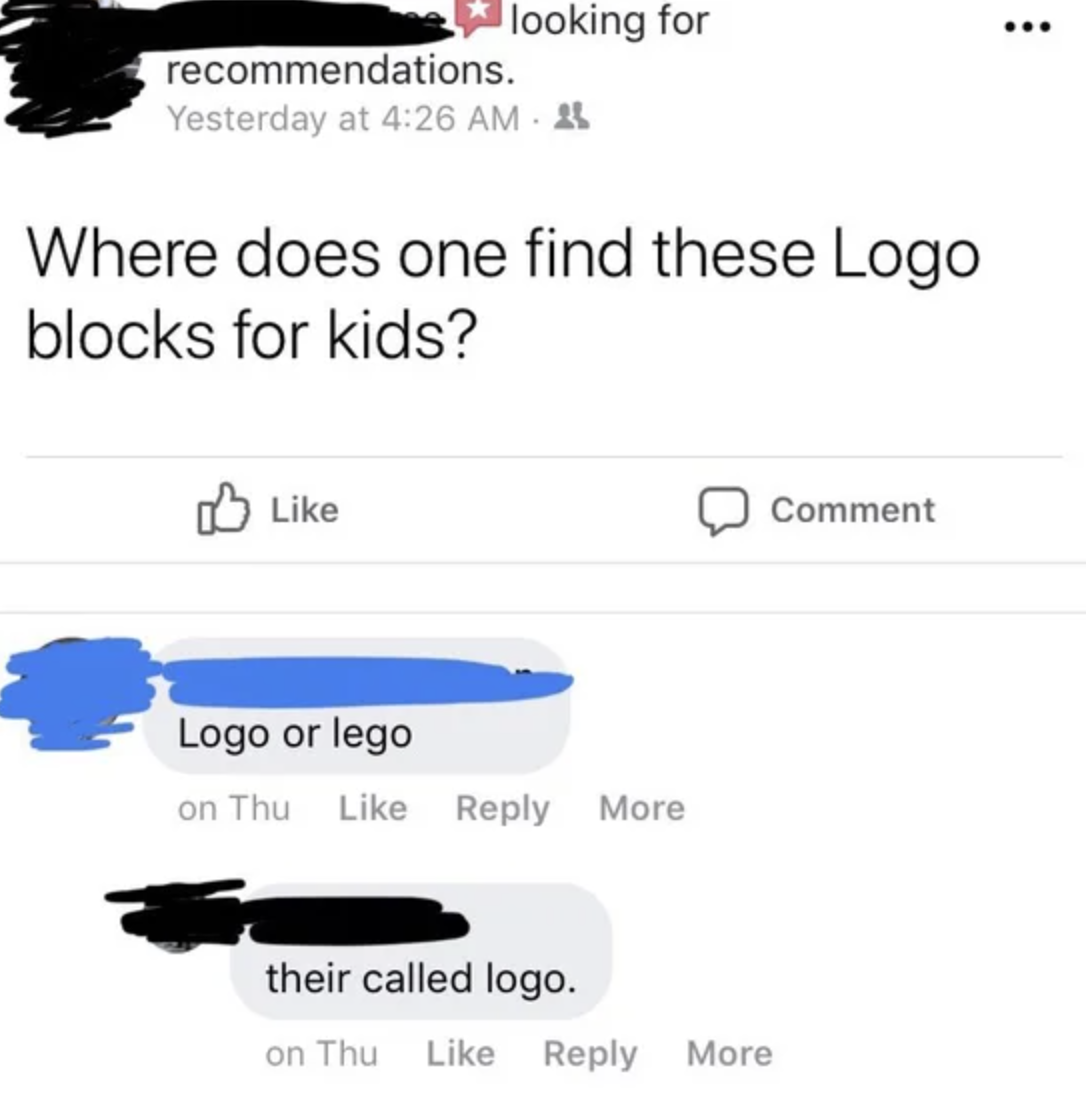 a person asking where to find logo blocks when they mean legos