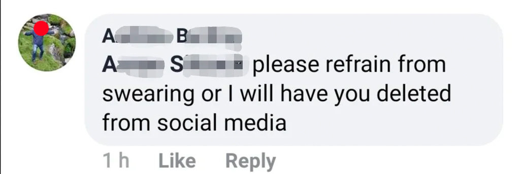 a person saying they will remove someone from social media