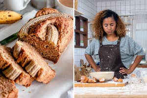 (left) sliced banana bread; (right) a woman looks exasperated covered in flour looking at a baking mess