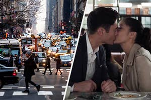 "On the left, busy traffic on a New York City street, and on the right, Henry Golding and Constance Wu share a kiss as Nick and Rachel in ""Crazy Rich Asians"""