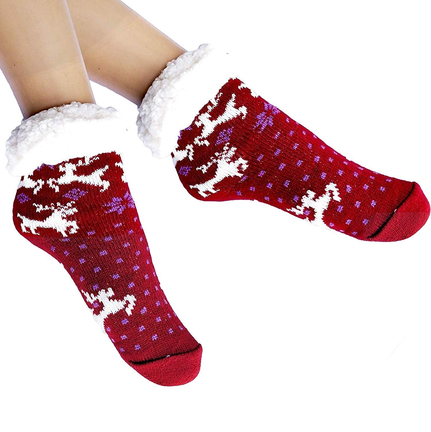 Red and white fuzzy slipper socks.