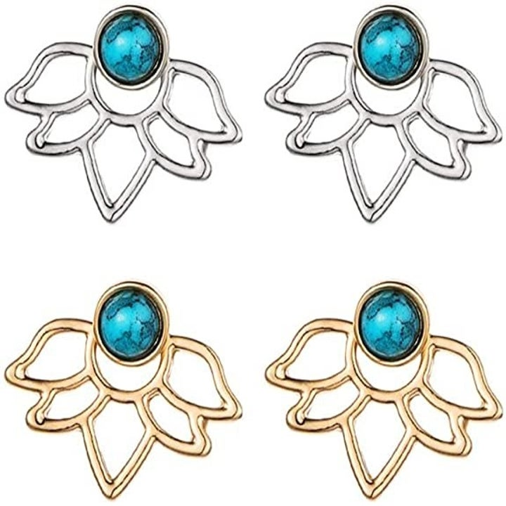 The earrings with turquoise studs and petal-shaped backs in gold and silver