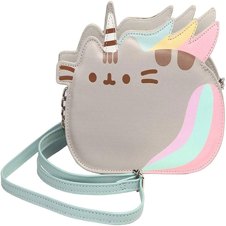 The bag in gray, mint, pink, and yellow shaped like a unicorn Pusheen