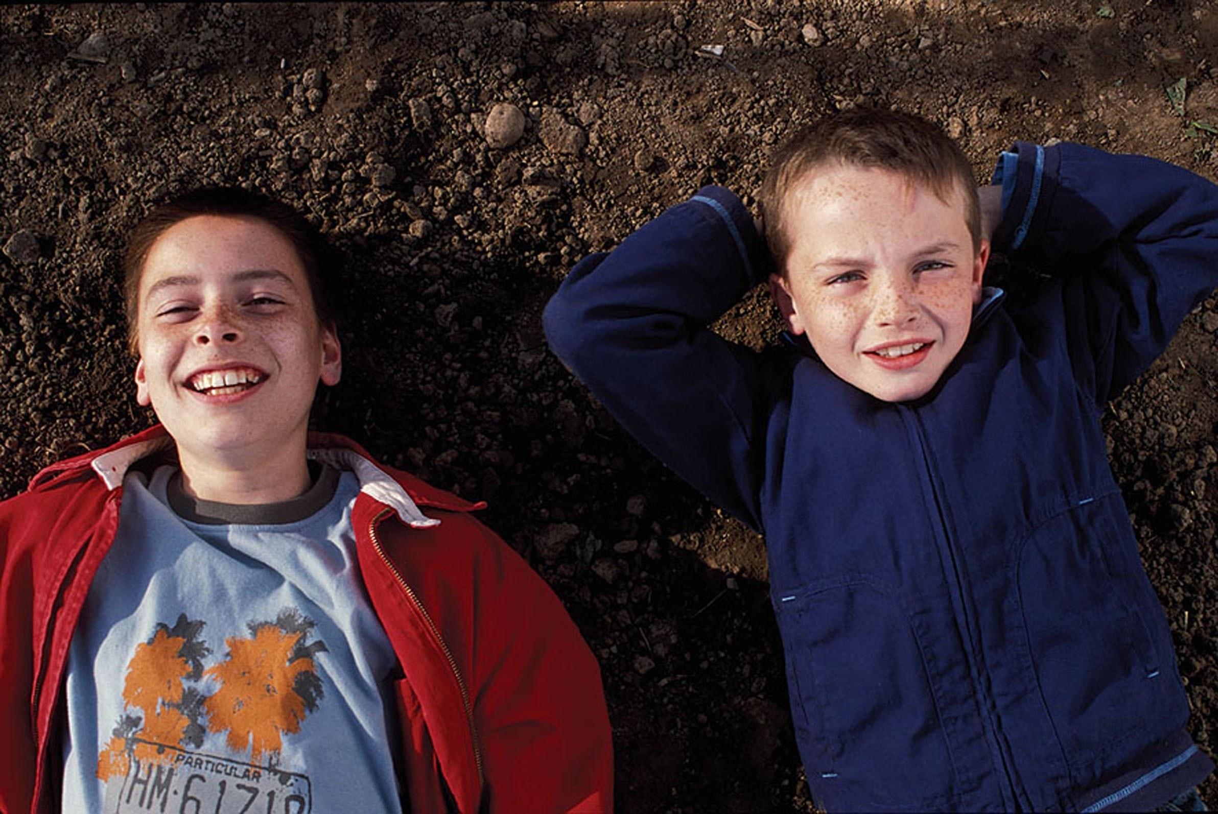 "Lewis McGibbon and Alex Etel in 2004 movie ""Millions"""
