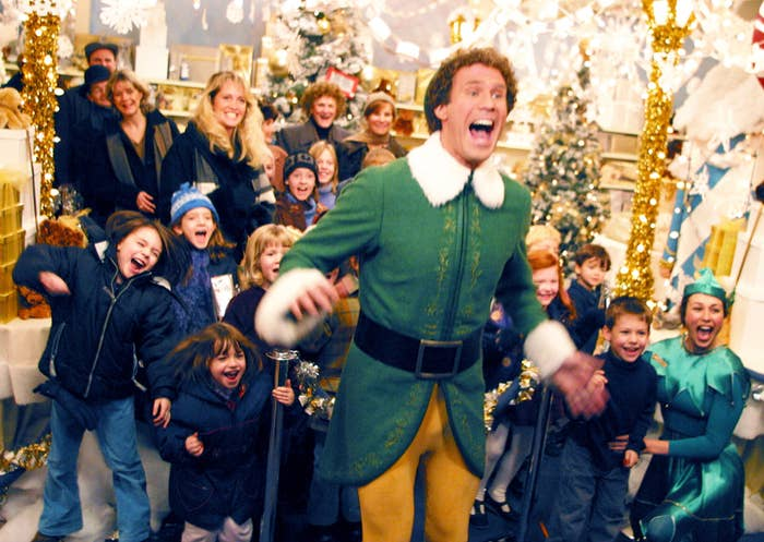 """Will Ferrell as """"Buddy the Elf"""" screaming for Santa Claus among kids"""