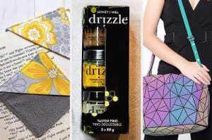A corner bookmark, a trio of honeys, and a holographic handbag