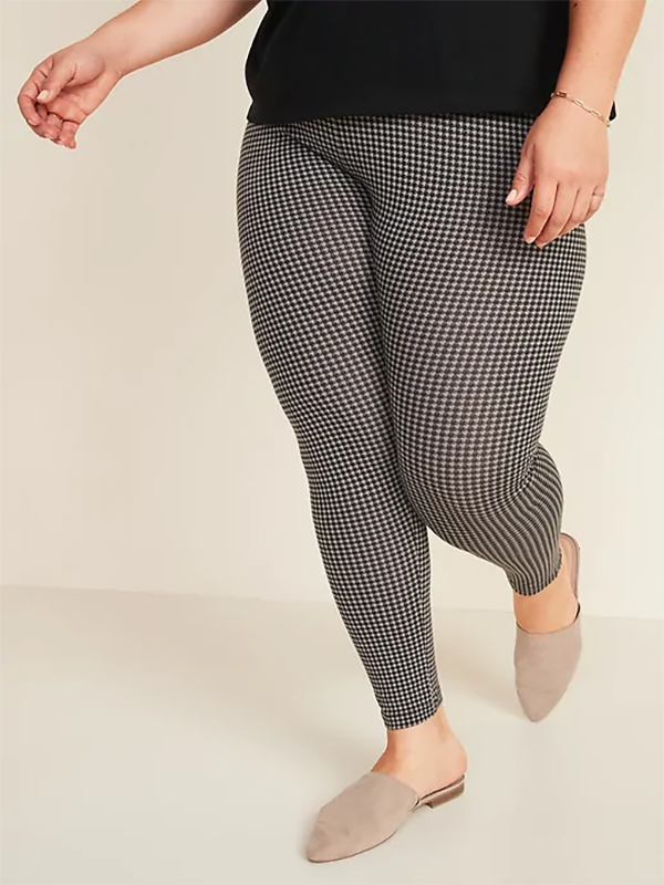 model wears black and white checked leggings