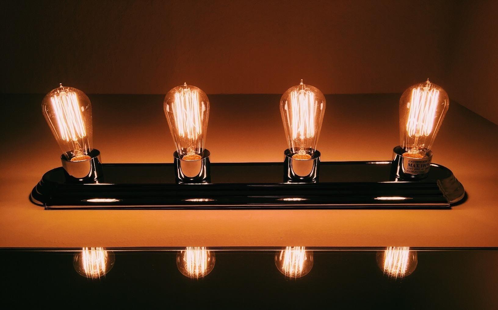 Four Edison bulbs lit up