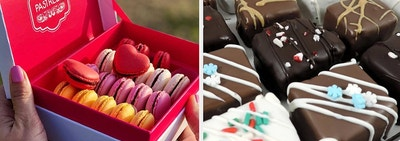 a pastreez macaron subscription and a chocolate dipped craft brownies subscription