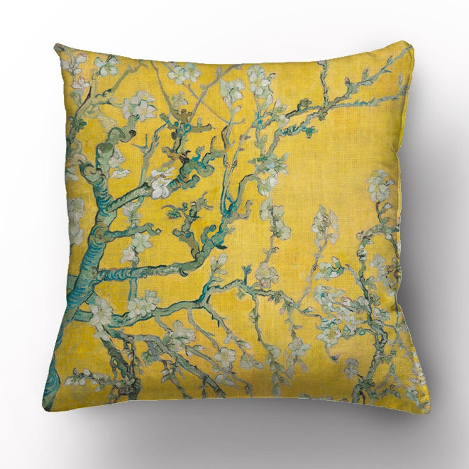 The yellow almond blossom Van Gogh-inspired pillow