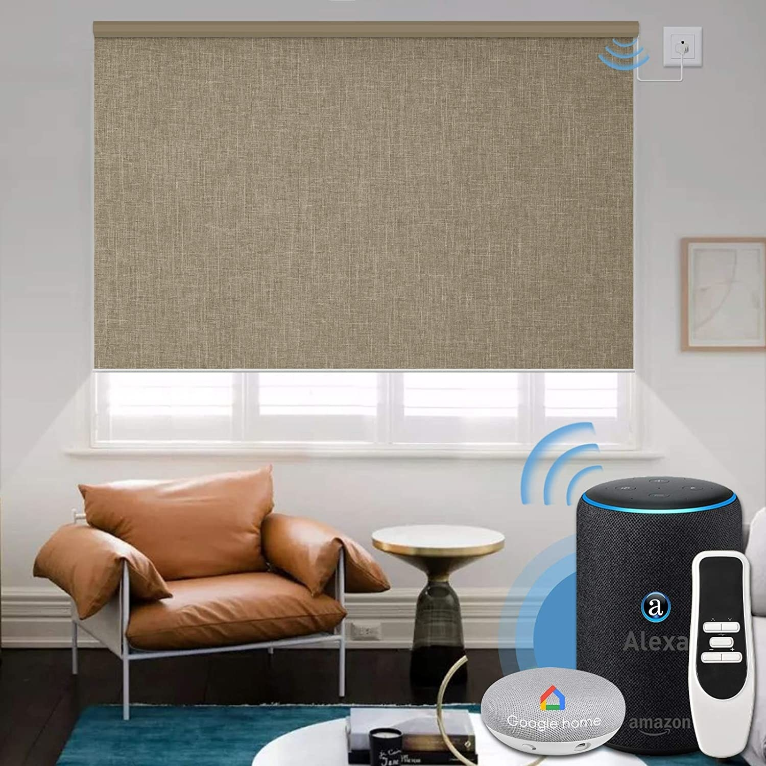 The shades in coffee and a display that shows they can be controlled via Alexa, Google Home, or an included remote