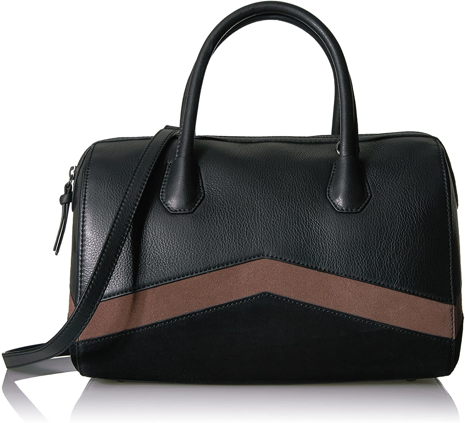 The black bowler bag with short handles and a long crossbody strap and a brown suede chevron stripe