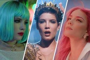 Halsey in three different eras of her career in pop music