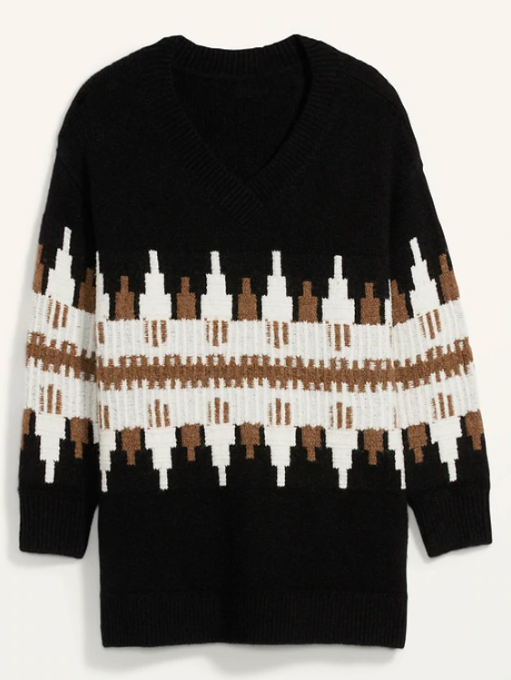 the sweater in mostly black with a white and brown pattern across the middle of the sweater with an art deco vibe
