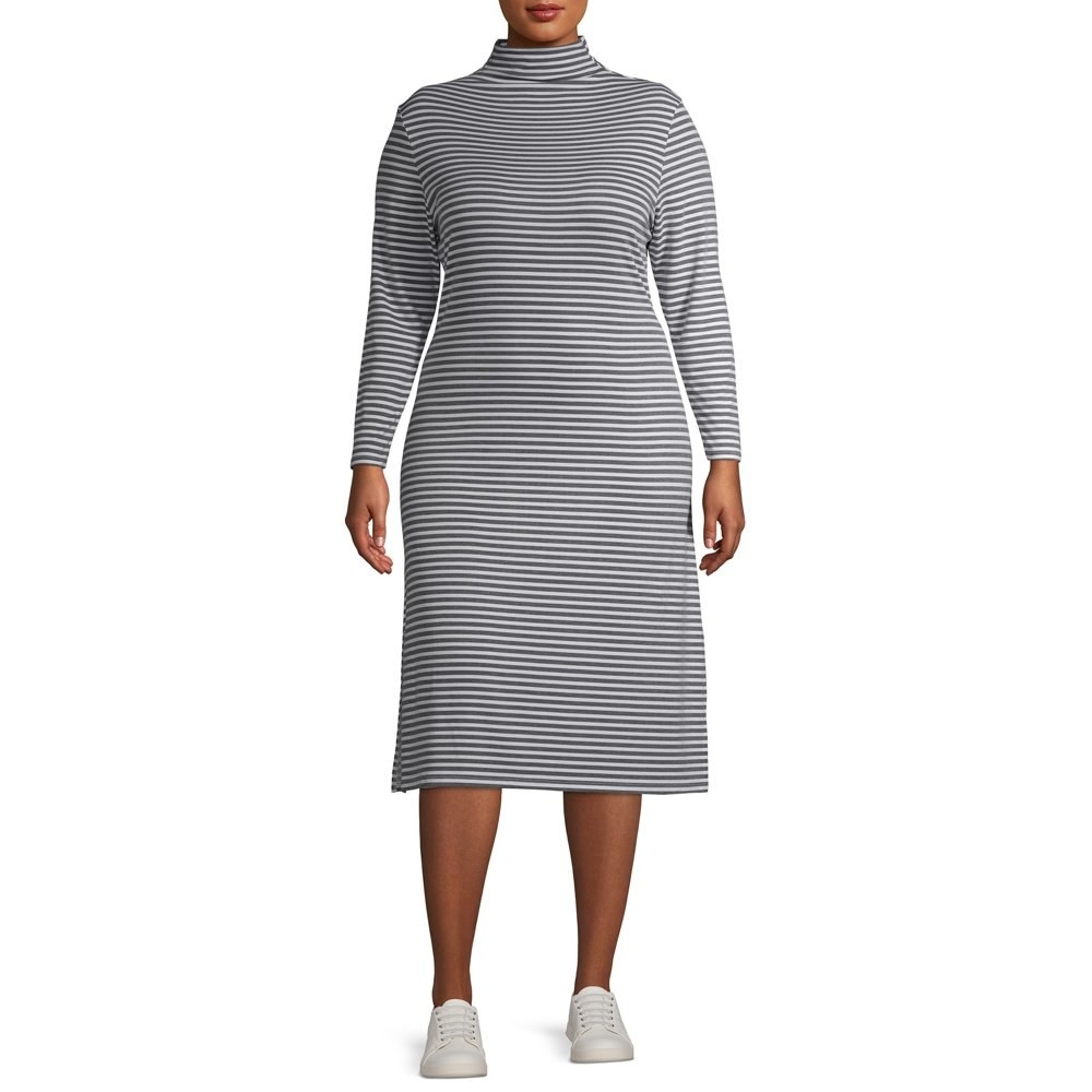 model wears long sleeve striped  turtleneck midi dress