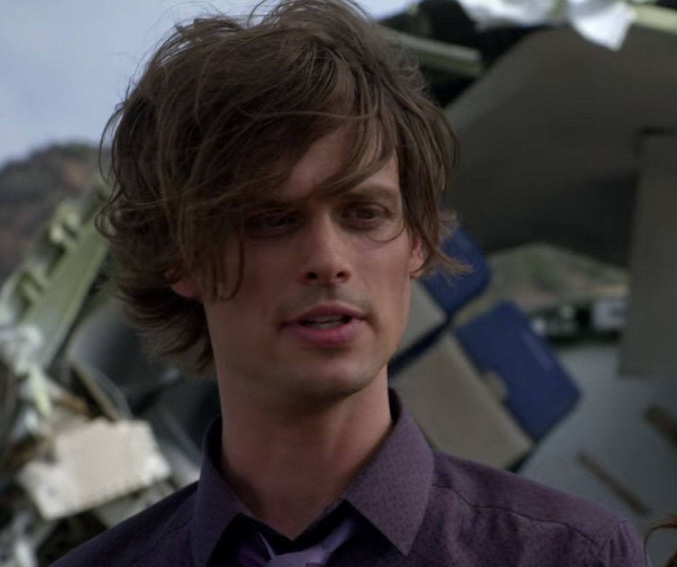 Spencer Reid from Criminal Minds looking at a person