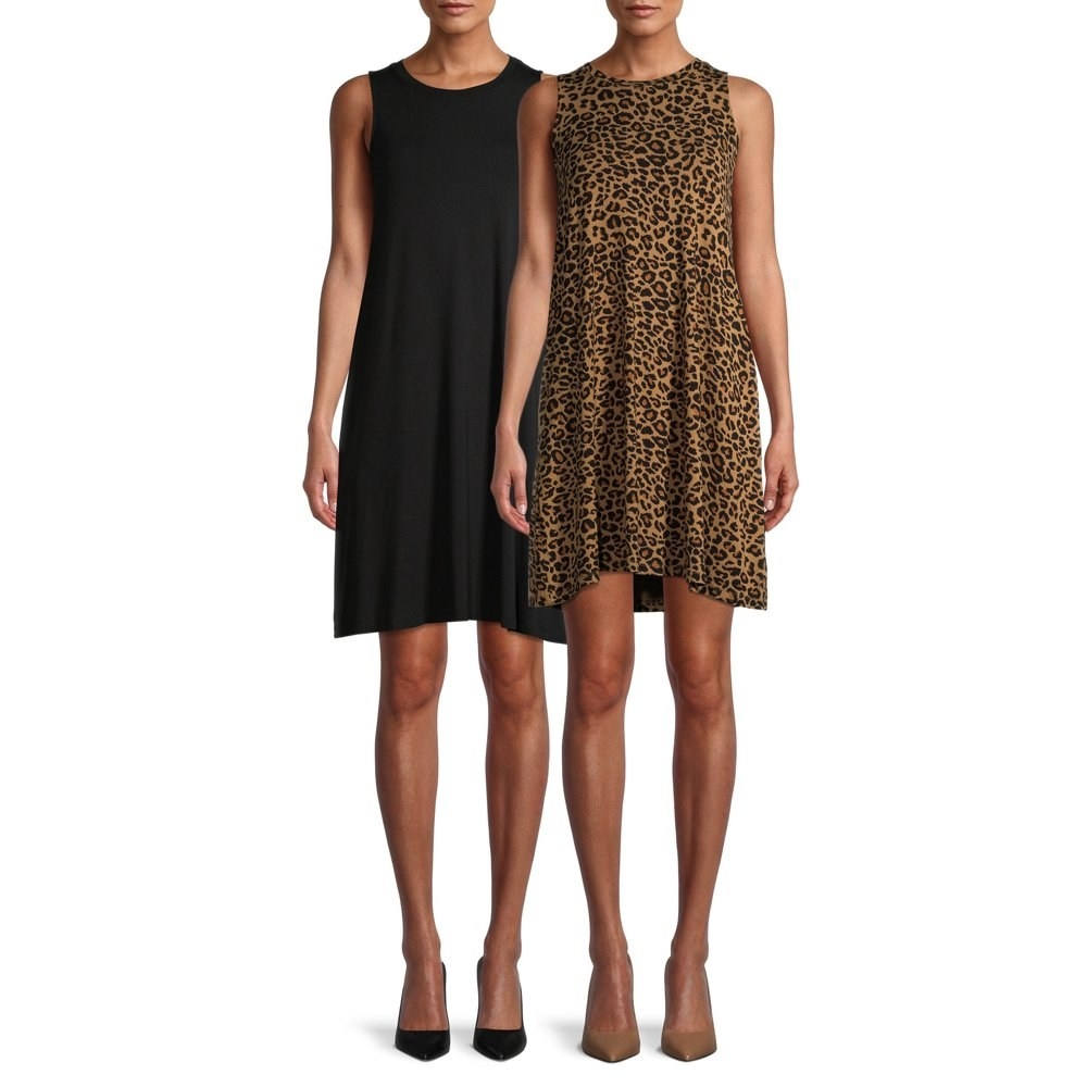 two models wearing tank dresses. one is black and one is leopard print