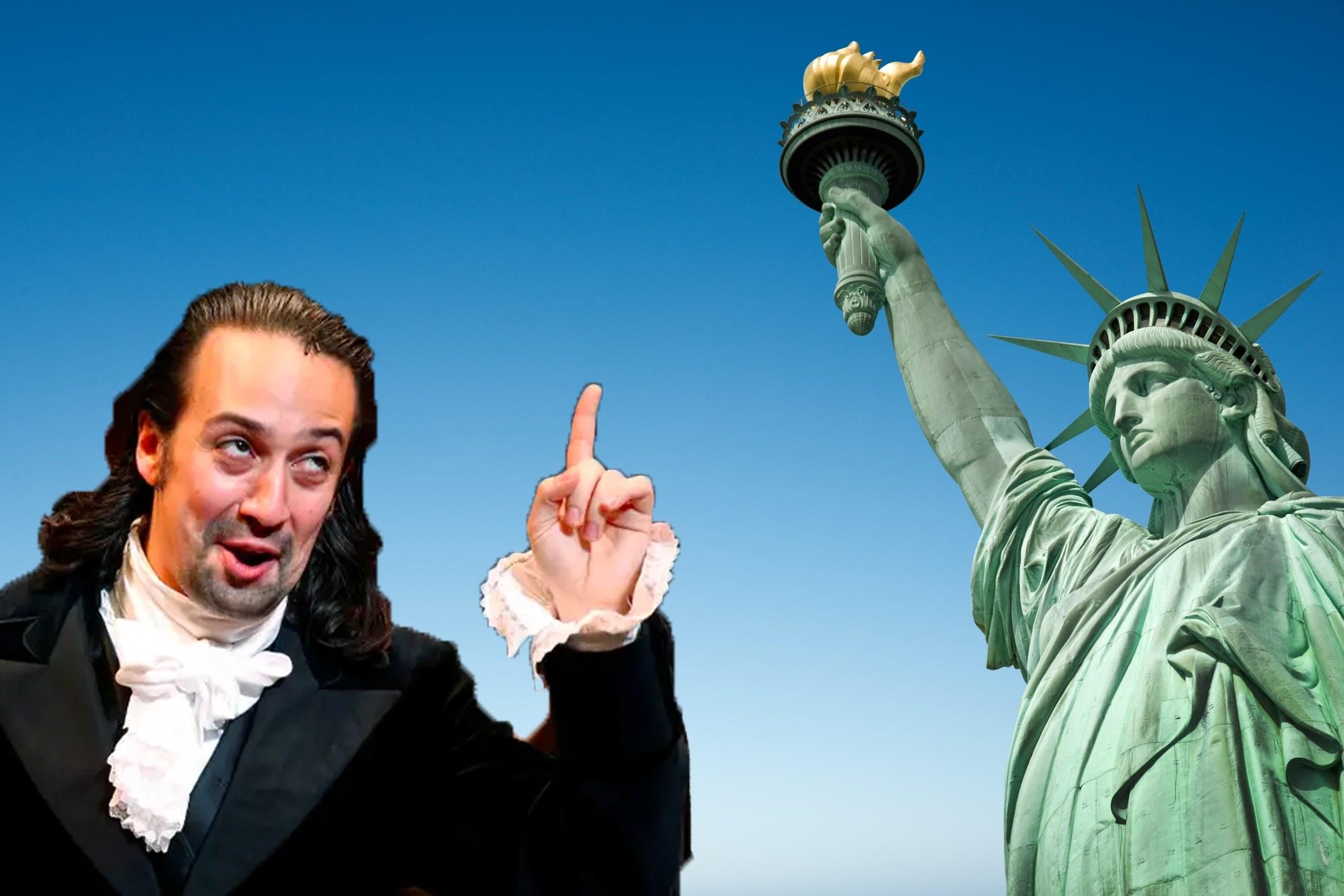 Hamilton and Statue of Liberty