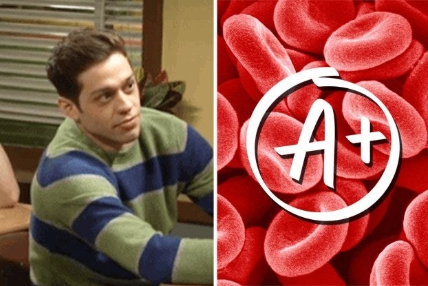 """Pete Davidson on """"Saturday Night Live"""" at a desk and red blood cells with a A+"""