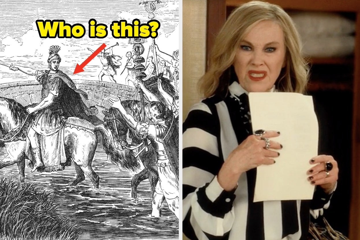 """Julius Caesar with the words """"Who is this?"""" and Moira Rose looking disgusted on """"Schitt's Creek"""""""