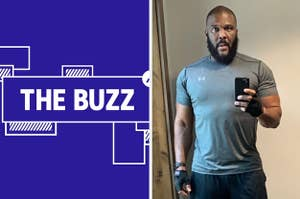 Splitscreen of purple graphic with THE BUZZ in white letters on the right side and photo of Tyler Perry holding up his phone on the left side (CREDIT: TYLER PERRY)