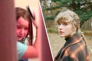 A girl crying in a bathroom by herself because she's in quarantine next to taylor swift walking through a field