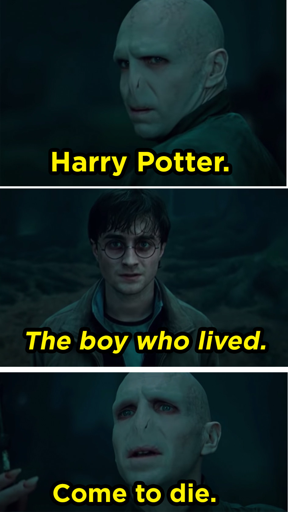 """a bald man-creature with two slits for a nose stands in a forest. he says """"harry potter, the boy who lived, come to die."""""""