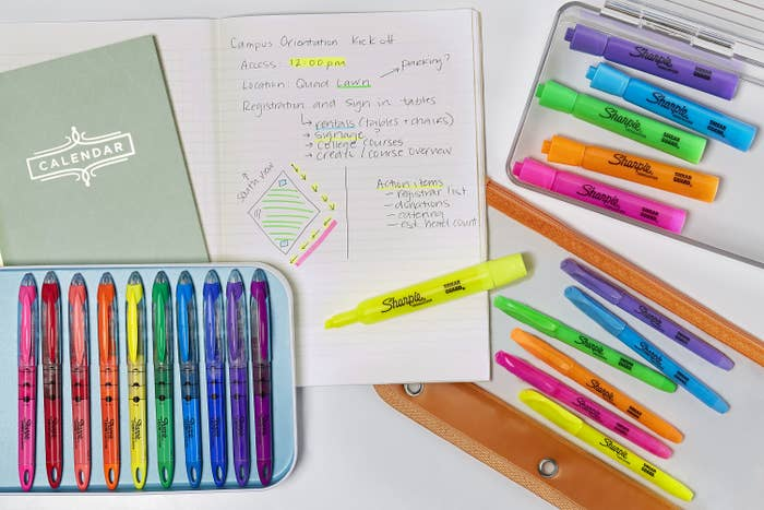 the highlighters displayed on the desk being used for notes