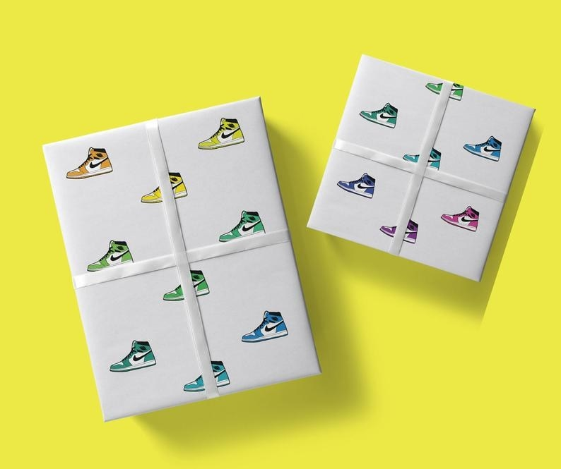 white wrapping paper with air jordan's in different colors on it