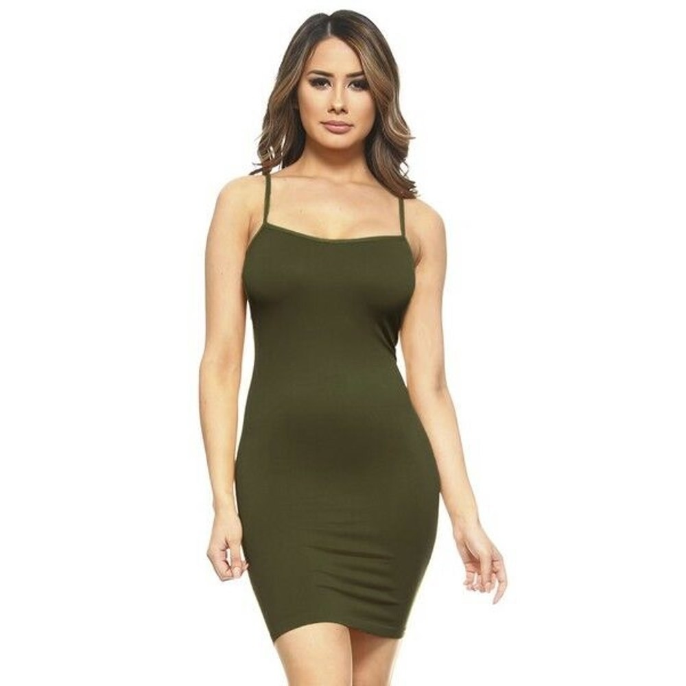 model wears olive green cami dress