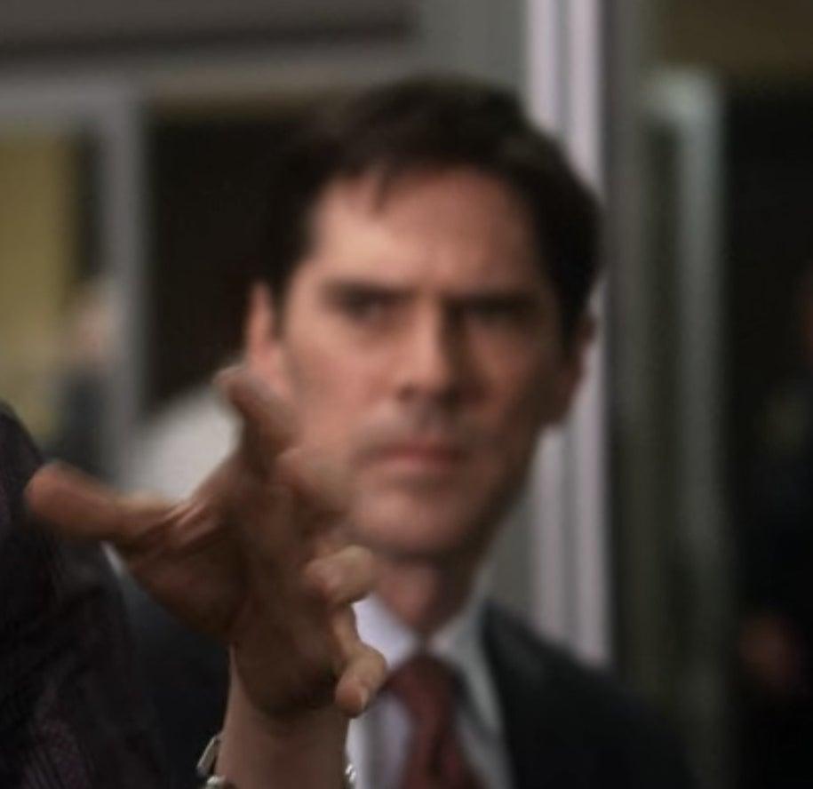 Hotch staring at Spencer Reid