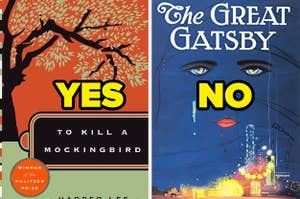 """To Kill A Mockingbird labeled """"yes"""" and The Great Gatsby labeled """"no"""""""