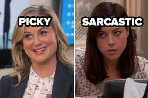 picky label over leslie knope and sarscastic label over april ludgate