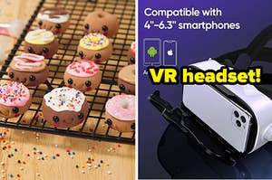 L: Mini clay donuts with smiling faces sitting on a cooling rack R: White iPhone in VR headset