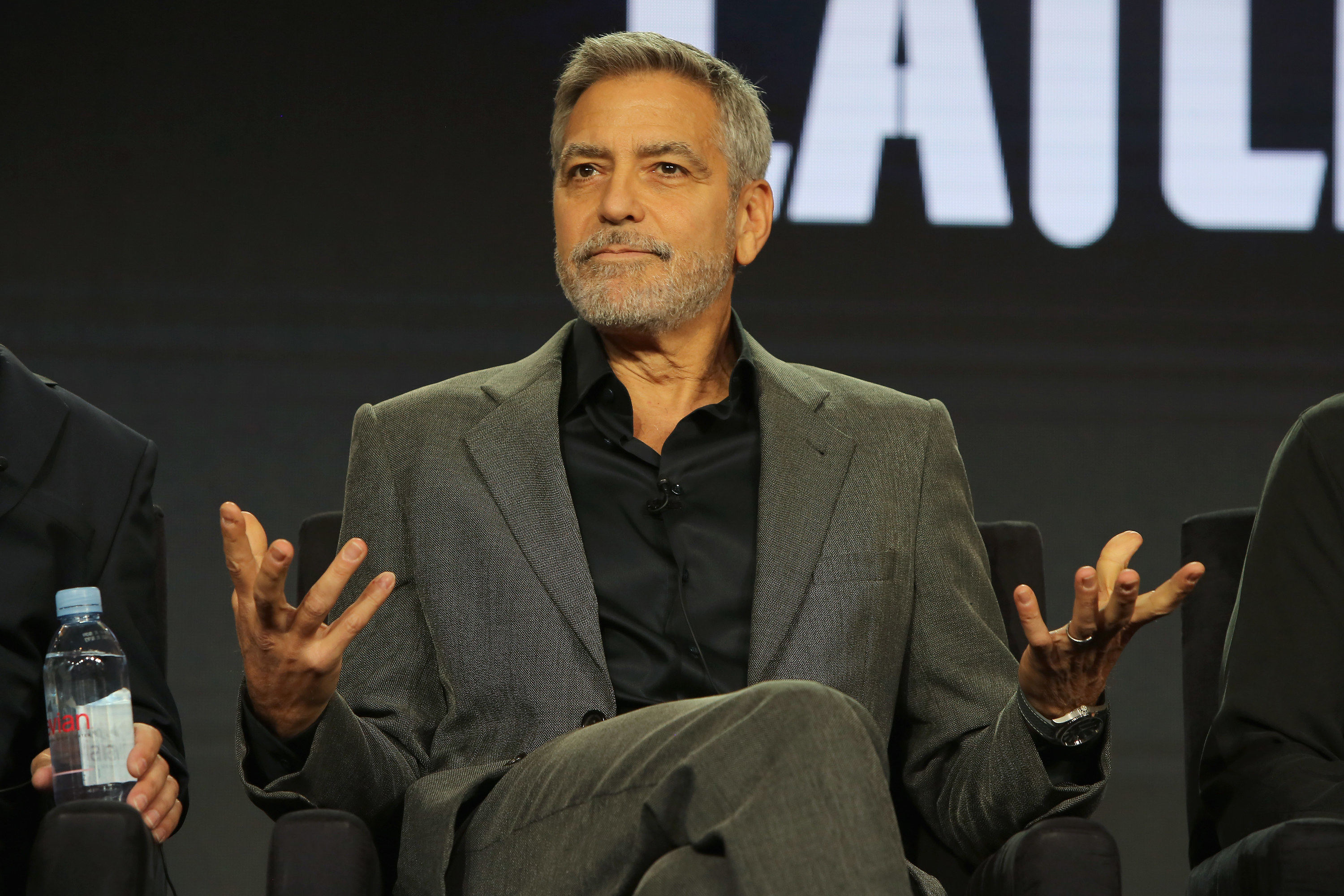 """George Clooney of """"Catch 22"""" speaks onstage during the Hulu panel"""