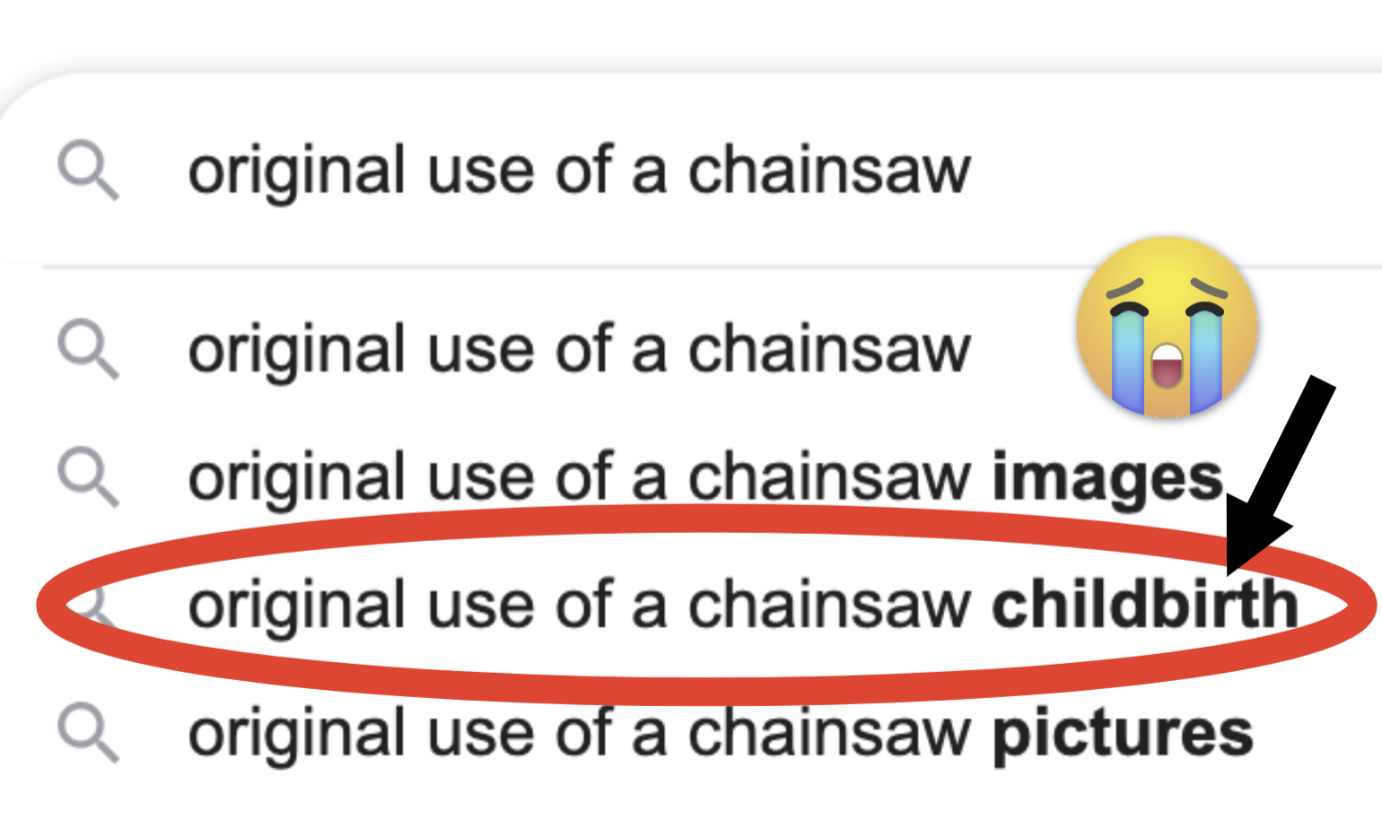 Text saying chainsaw and childbirth.