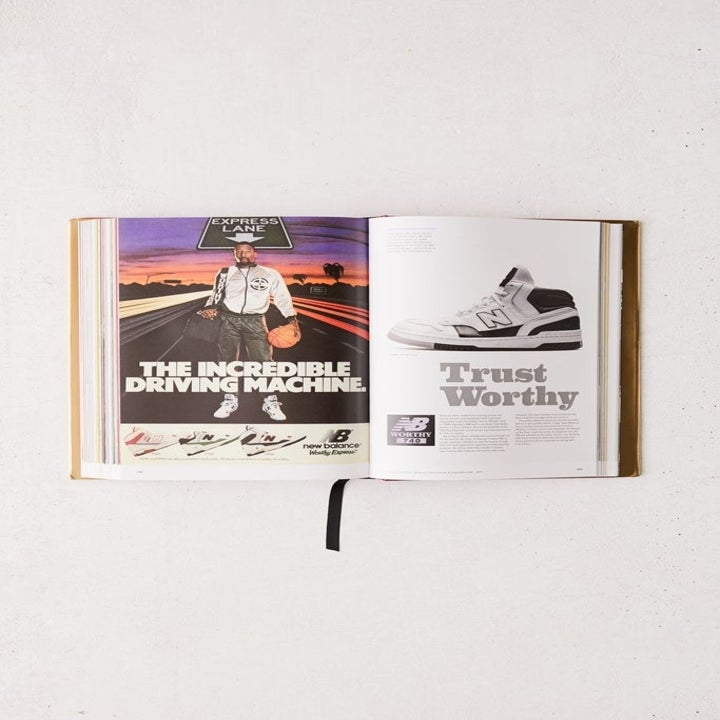 the inside of the book featuring pages about New Balance