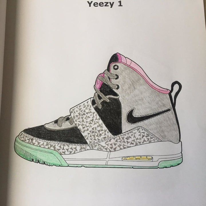 reviewer's colored in yeezy sneaker